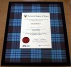 Image shows an enhanced framed certificate. © Crown copyright (2012): National Records of Scotland