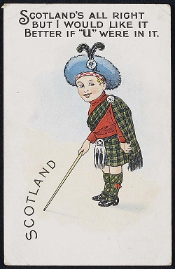 Photo of comic postacard of a boy in Highland dress